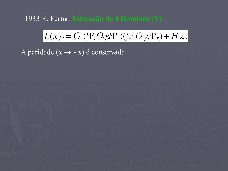 1933 E. Fermi: Interação de 4 férmions (V)