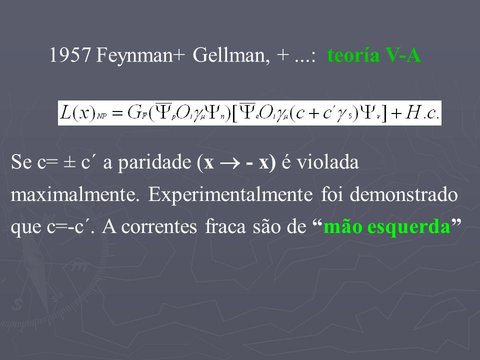 1957 Feynman+ Gellman, + ...: teoría V-A