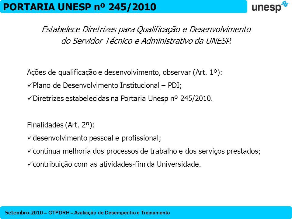 PORTARIA UNESP nº 245/2010 Estabelece Diretrizes para Qualificação e Desenvolvimento do Servidor Técnico e Administrativo da UNESP.