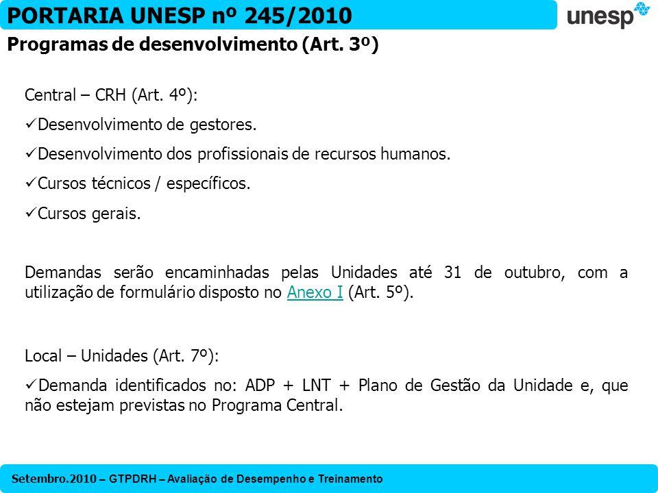 PORTARIA UNESP nº 245/2010 Programas de desenvolvimento (Art. 3º)