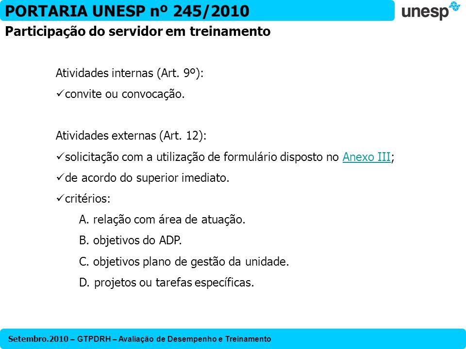 PORTARIA UNESP nº 245/2010 Participação do servidor em treinamento