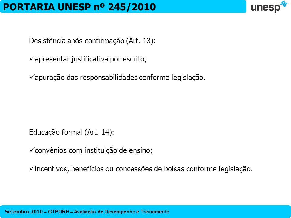 PORTARIA UNESP nº 245/2010 Desistência após confirmação (Art. 13):