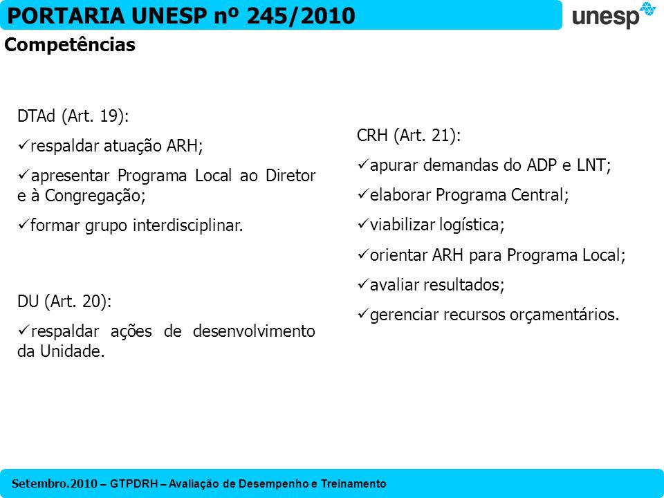 PORTARIA UNESP nº 245/2010 Competências DTAd (Art. 19):