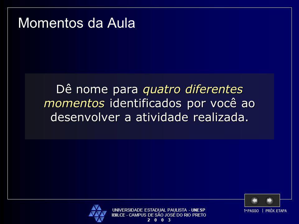 Momentos da Aula UNIVERSIDADE ESTADUAL PAULISTA - UNESP. IBILCE - CAMPUS DE SÃO JOSÉ DO RIO PRETO.