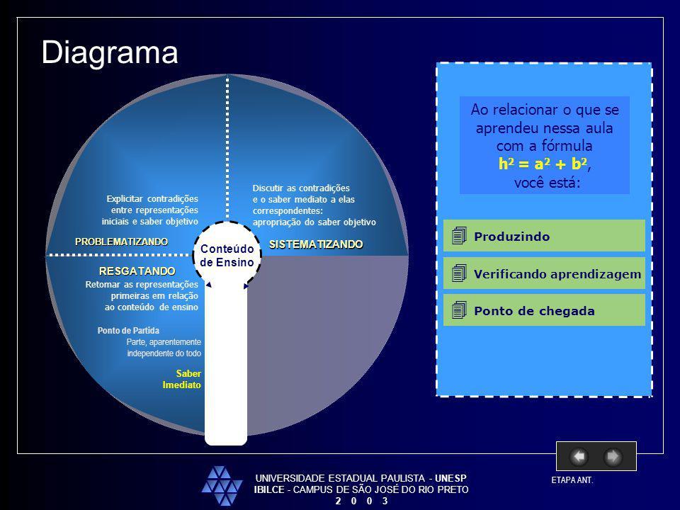 Diagrama  Produzindo  Verificando aprendizagem  Ponto de chegada
