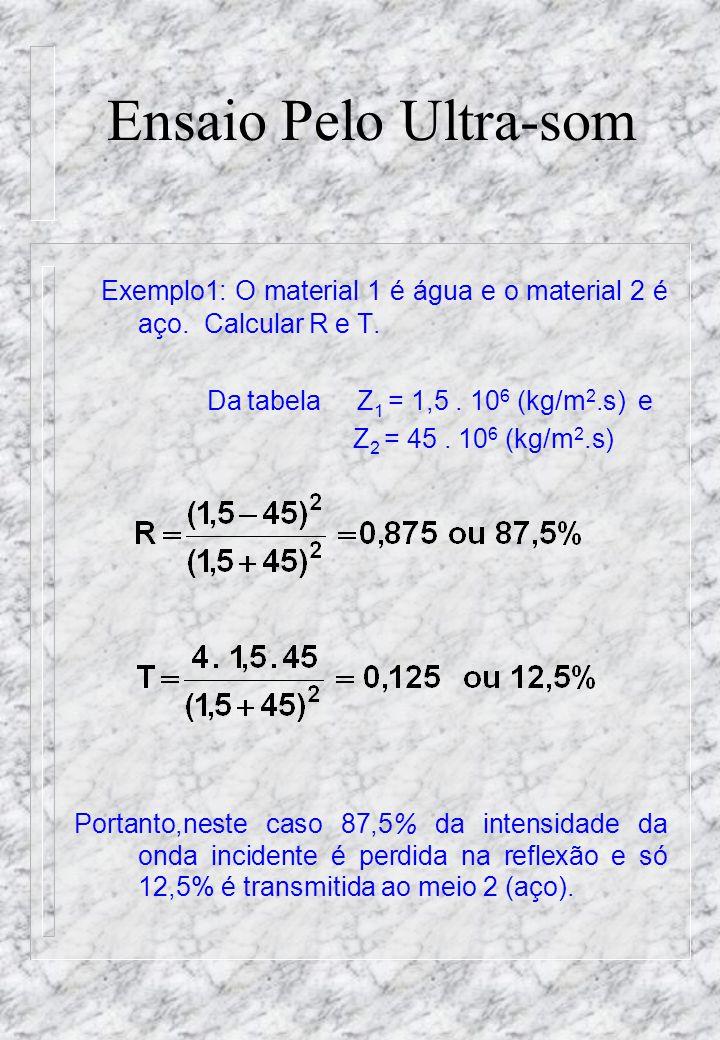 Ensaio Pelo Ultra-som Exemplo1: O material 1 é água e o material 2 é aço. Calcular R e T. Da tabela Z1 = 1,5 . 106 (kg/m2.s) e.