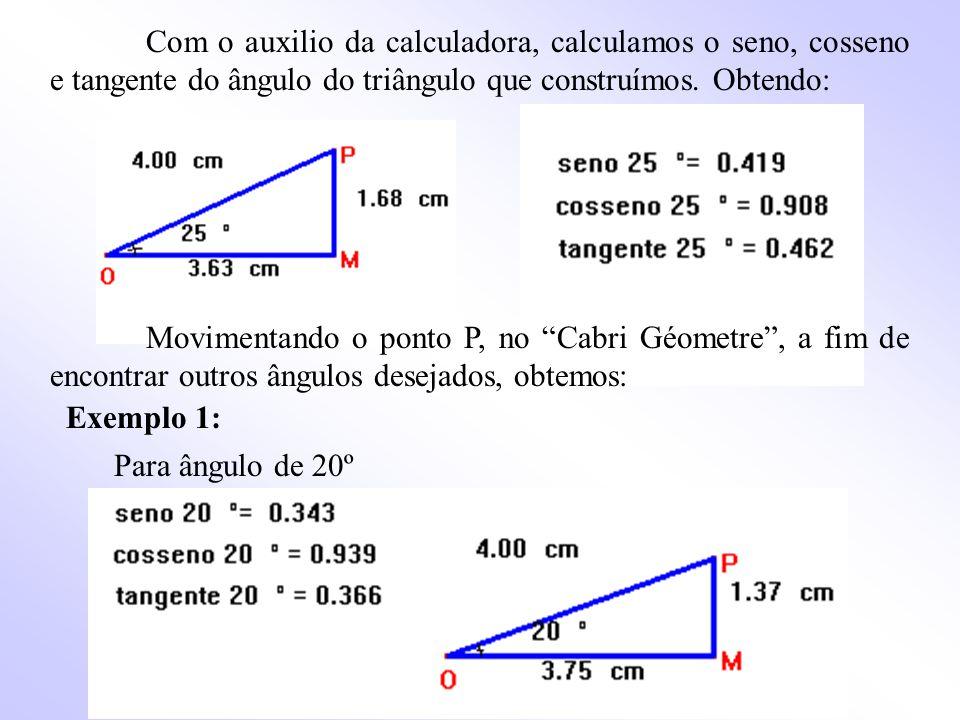 Com o auxilio da calculadora, calculamos o seno, cosseno e tangente do ângulo do triângulo que construímos. Obtendo: