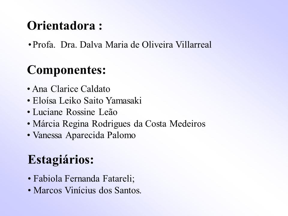 Orientadora : • Profa. Dra. Dalva Maria de Oliveira Villarreal