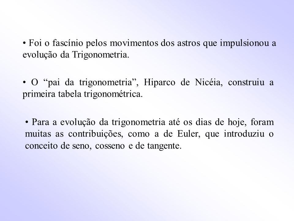 • Foi o fascínio pelos movimentos dos astros que impulsionou a evolução da Trigonometria.