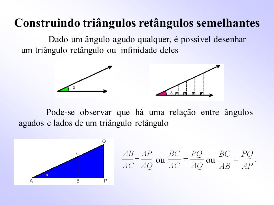 Construindo triângulos retângulos semelhantes