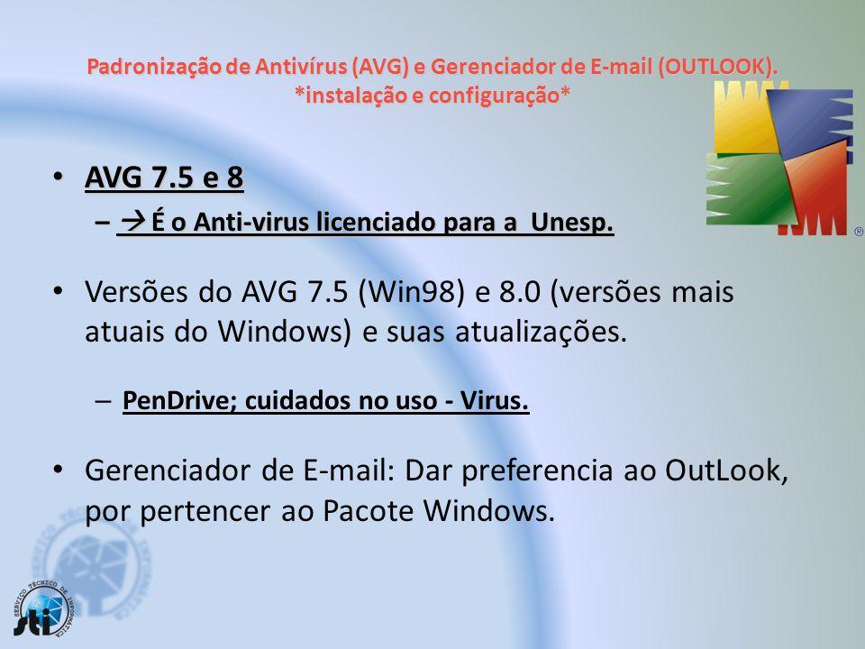 Padronização de Antivírus (AVG) e Gerenciador de E-mail (OUTLOOK)