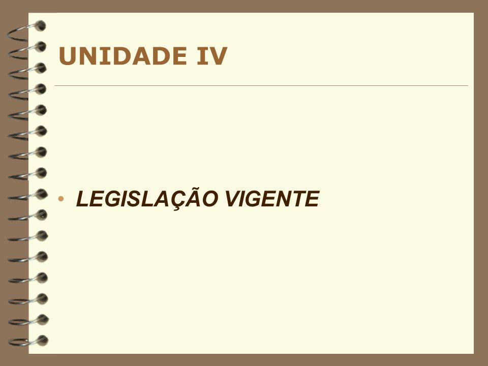 UNIDADE IV LEGISLAÇÃO VIGENTE