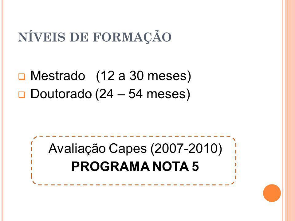 Mestrado (12 a 30 meses) Doutorado (24 – 54 meses)