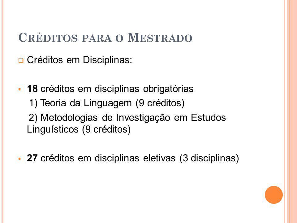 Créditos para o Mestrado