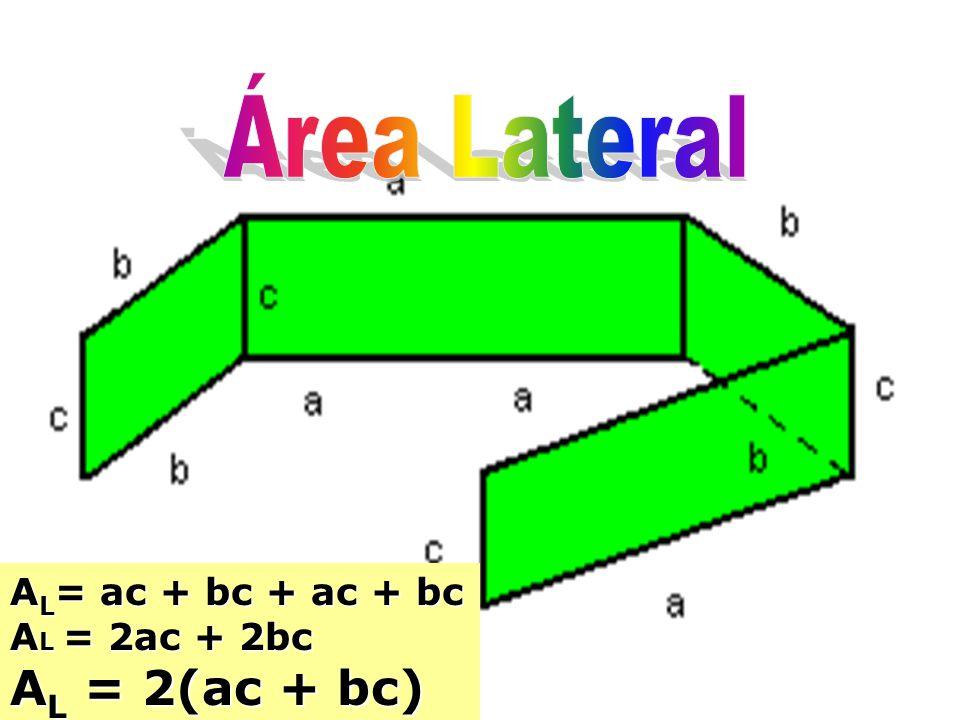 Área Lateral AL= ac + bc + ac + bc AL = 2ac + 2bc AL = 2(ac + bc)