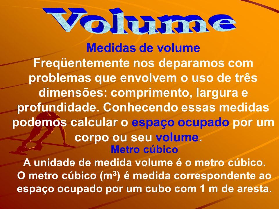 A unidade de medida volume é o metro cúbico.