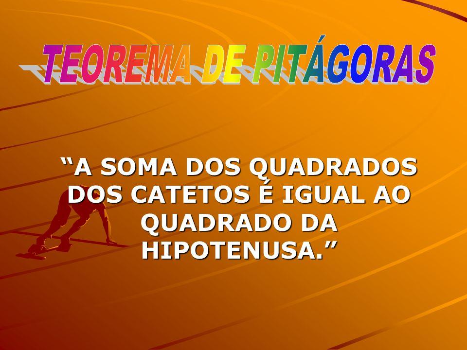 A SOMA DOS QUADRADOS DOS CATETOS É IGUAL AO QUADRADO DA HIPOTENUSA.