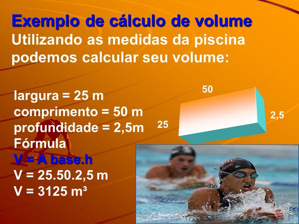 Exemplo de cálculo de volume Utilizando as medidas da piscina podemos calcular seu volume: