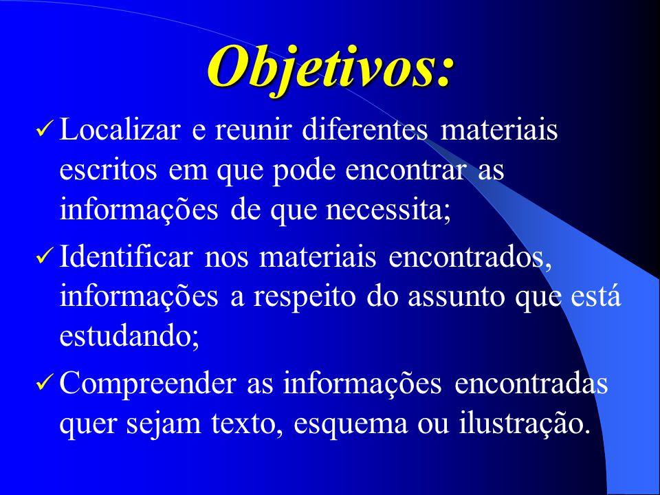 Objetivos: Localizar e reunir diferentes materiais escritos em que pode encontrar as informações de que necessita;