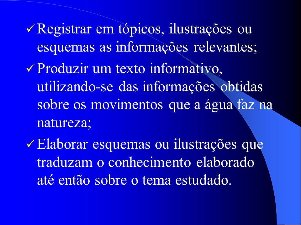 Registrar em tópicos, ilustrações ou esquemas as informações relevantes;