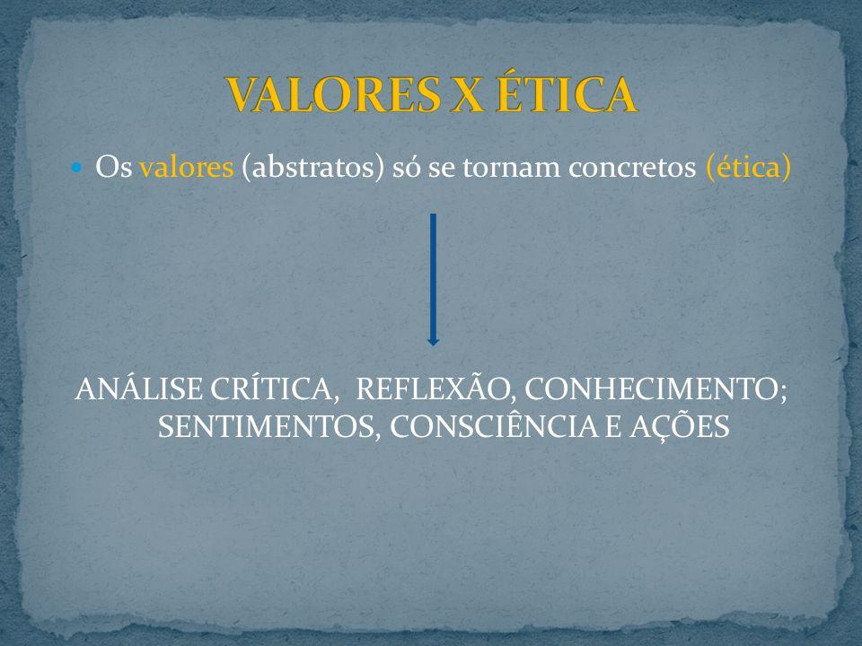Os valores (abstratos) só se tornam concretos (ética)