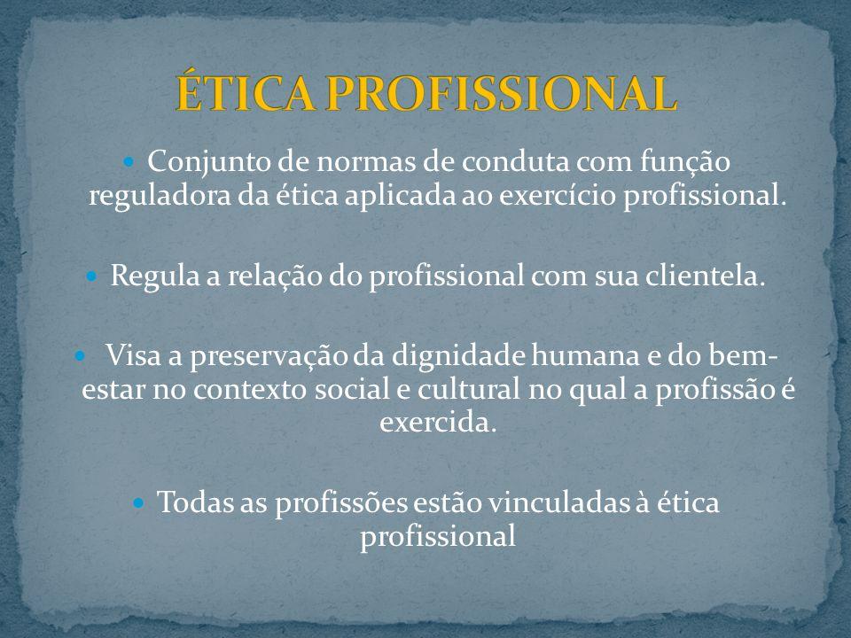 ÉTICA PROFISSIONAL Conjunto de normas de conduta com função reguladora da ética aplicada ao exercício profissional.