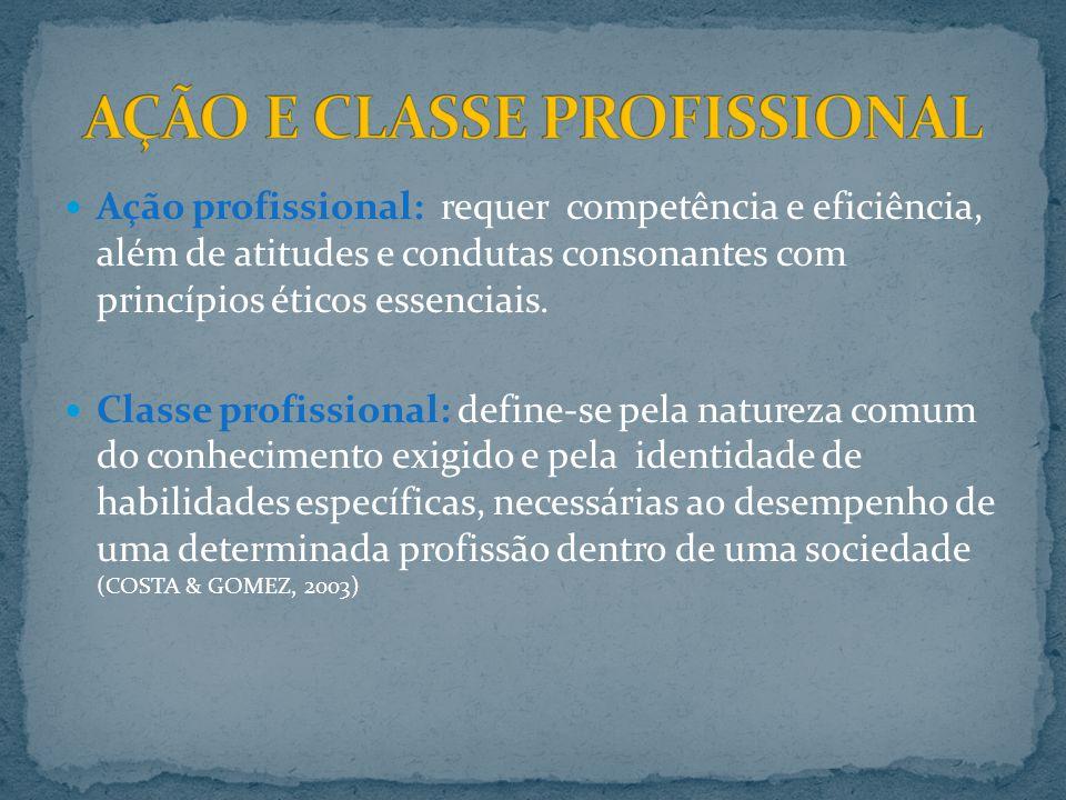 AÇÃO E CLASSE PROFISSIONAL