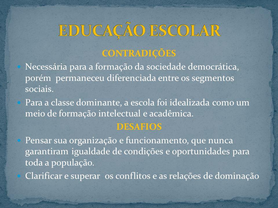 EDUCAÇÃO ESCOLAR CONTRADIÇÕES