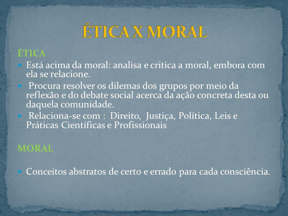 ÉTICA X MORAL ÉTICA. Está acima da moral: analisa e critica a moral, embora com ela se relacione.