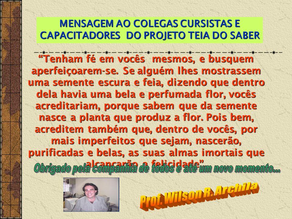 MENSAGEM AO COLEGAS CURSISTAS E CAPACITADORES DO PROJETO TEIA DO SABER