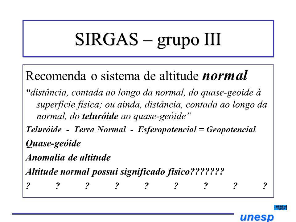 SIRGAS – grupo III Recomenda o sistema de altitude normal
