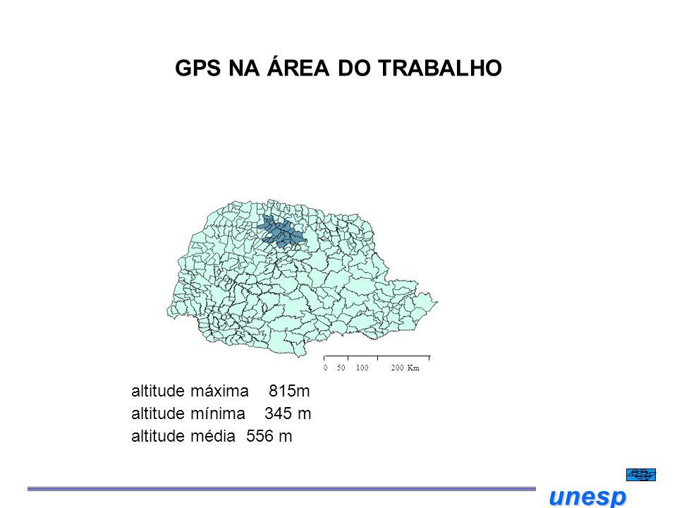 GPS NA ÁREA DO TRABALHO altitude máxima 815m altitude mínima 345 m