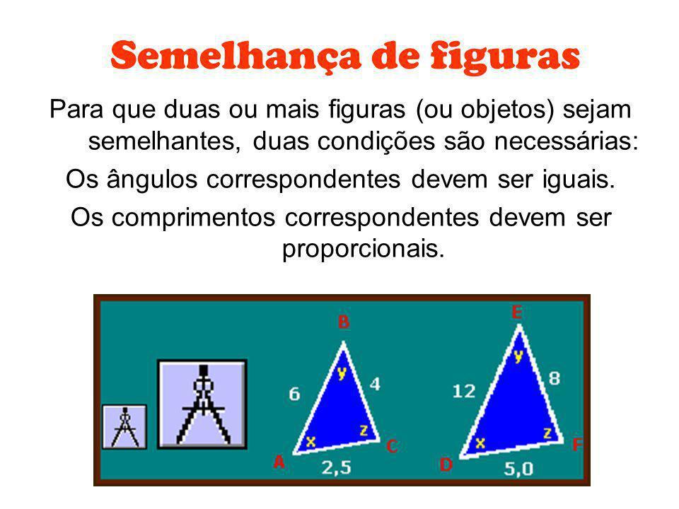 Semelhança de figuras Para que duas ou mais figuras (ou objetos) sejam semelhantes, duas condições são necessárias: