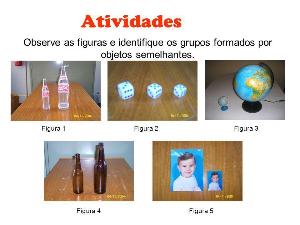 Atividades Observe as figuras e identifique os grupos formados por objetos semelhantes. Figura 1. Figura 2.