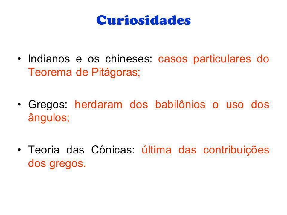 Curiosidades Indianos e os chineses: casos particulares do Teorema de Pitágoras; Gregos: herdaram dos babilônios o uso dos ângulos;