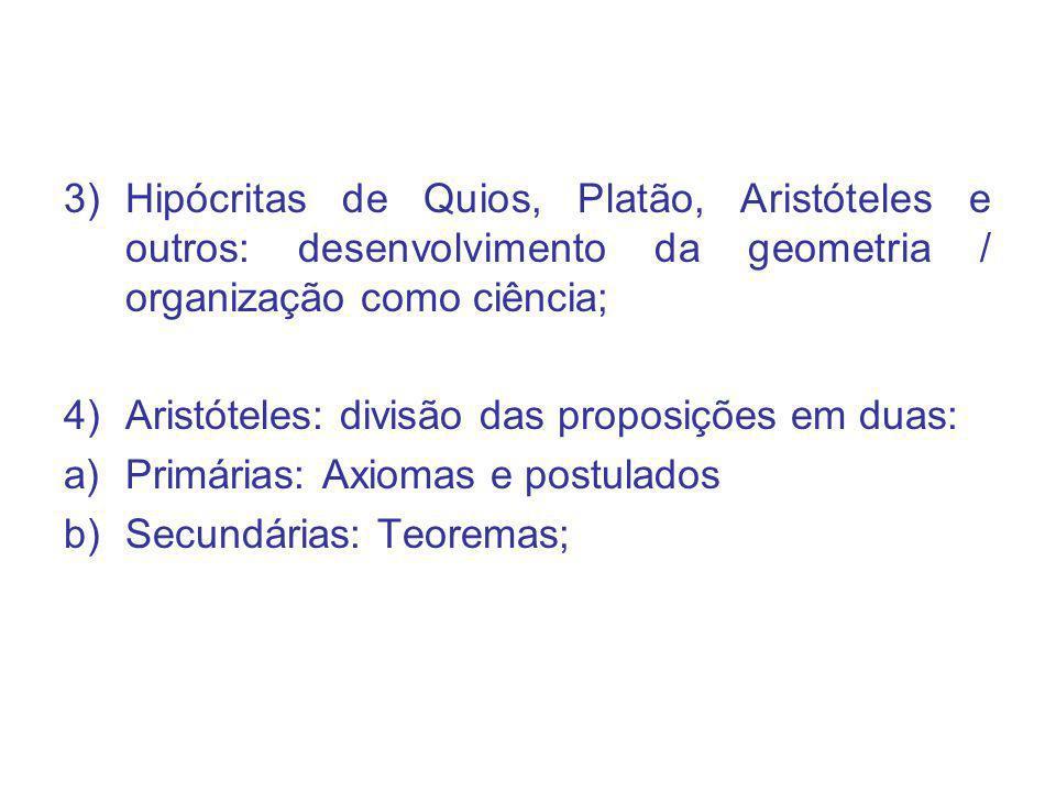 Hipócritas de Quios, Platão, Aristóteles e outros: desenvolvimento da geometria / organização como ciência;