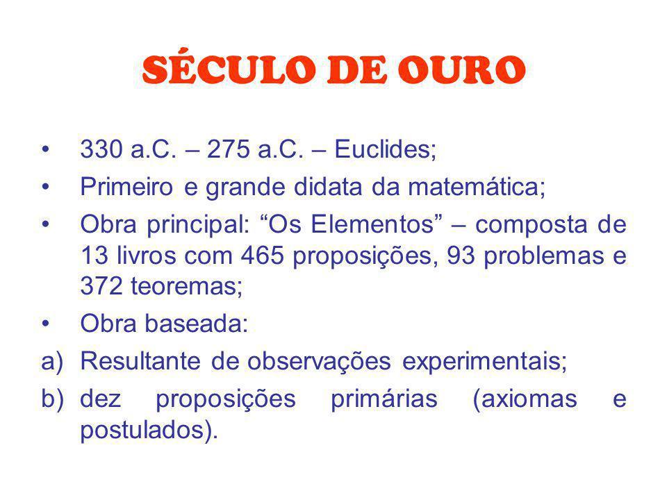 SÉCULO DE OURO 330 a.C. – 275 a.C. – Euclides;