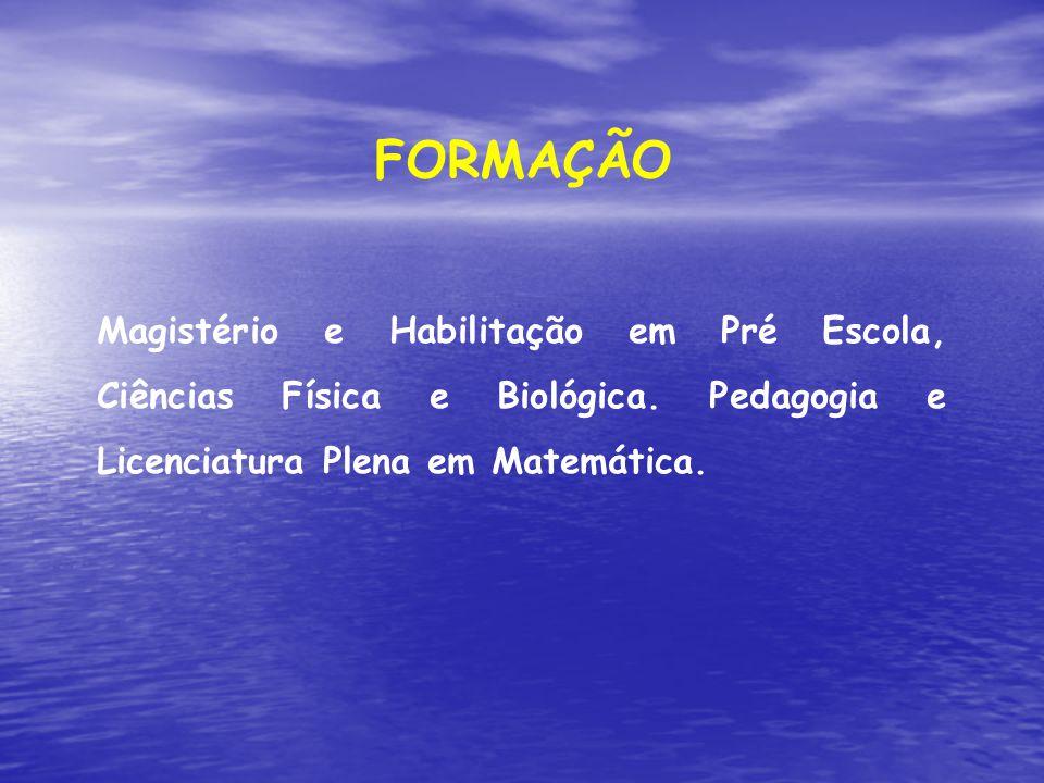 FORMAÇÃO Magistério e Habilitação em Pré Escola, Ciências Física e Biológica.