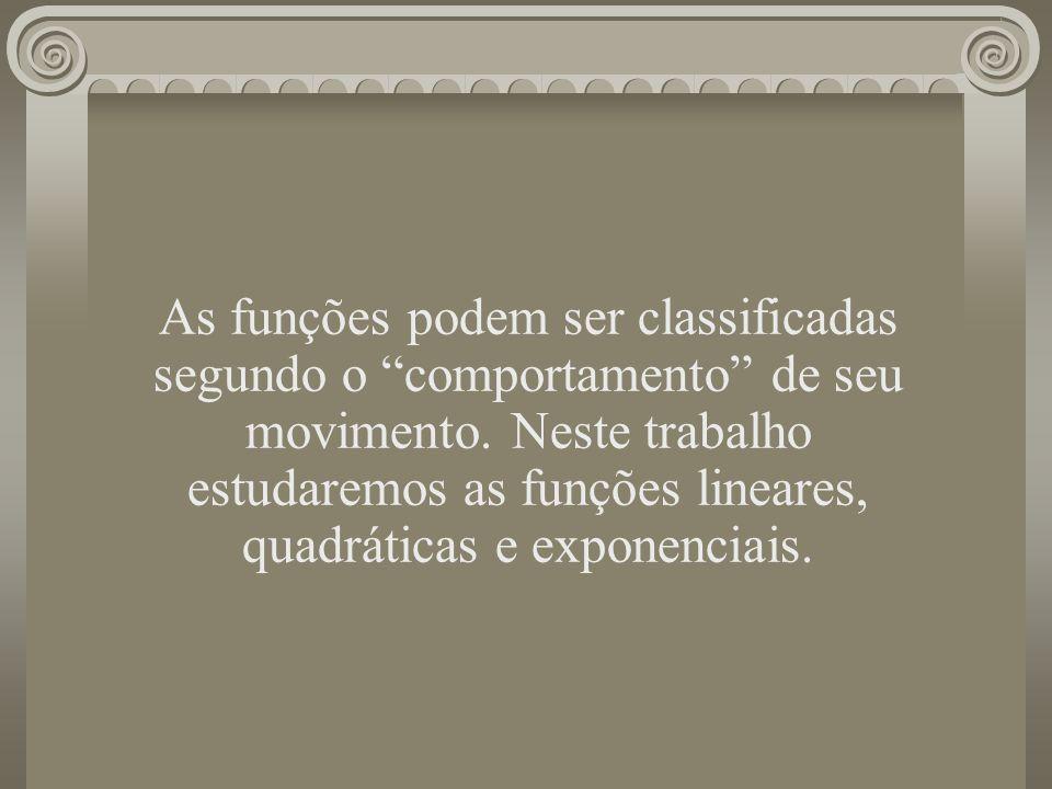 As funções podem ser classificadas segundo o comportamento de seu movimento. Neste trabalho estudaremos as funções lineares, quadráticas e exponenciais.