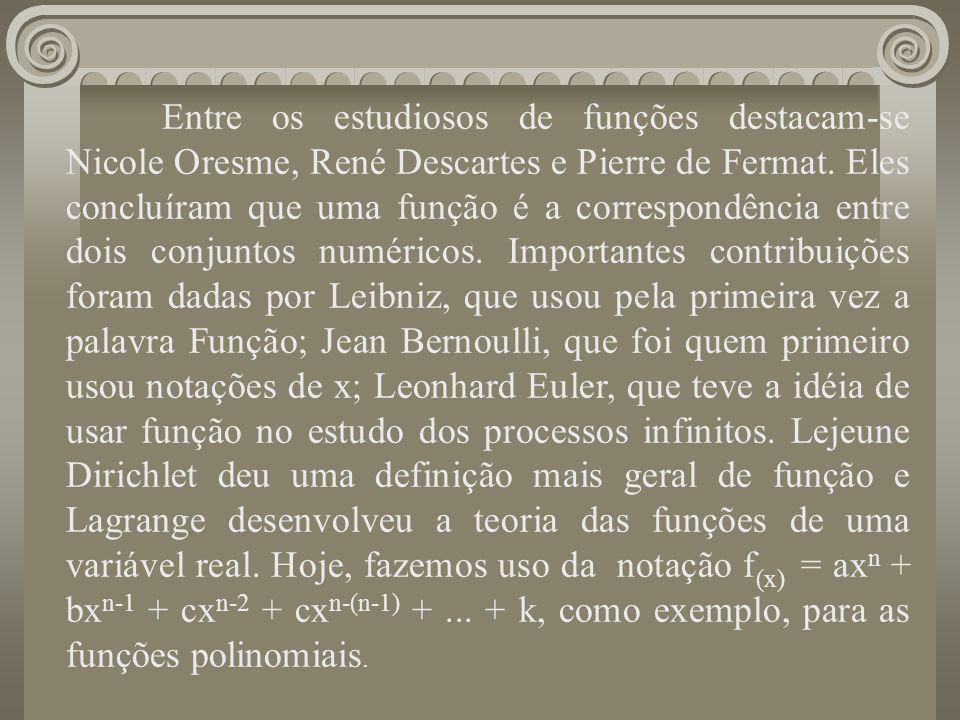 Entre os estudiosos de funções destacam-se Nicole Oresme, René Descartes e Pierre de Fermat. Eles concluíram que uma função é a correspondência entre dois conjuntos numéricos. Importantes contribuições foram dadas por Leibniz, que usou pela primeira vez a palavra Função; Jean Bernoulli, que foi quem primeiro usou notações de x; Leonhard Euler, que teve a idéia de usar função no estudo dos processos infinitos. Lejeune Dirichlet deu uma definição mais geral de função e Lagrange desenvolveu a teoria das funções de uma variável real. Hoje, fazemos uso da notação f(x) = axn + bxn-1 + cxn-2 + cxn-(n-1) + ... + k, como exemplo, para as funções polinomiais.
