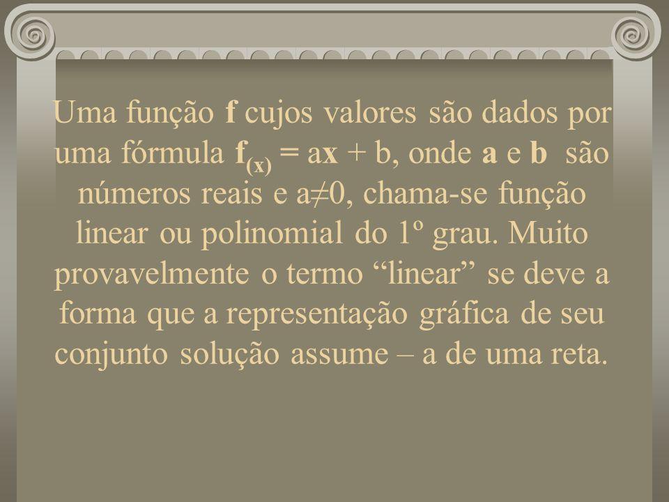 Uma função f cujos valores são dados por uma fórmula f(x) = ax + b, onde a e b são números reais e a≠0, chama-se função linear ou polinomial do 1º grau. Muito provavelmente o termo linear se deve a forma que a representação gráfica de seu conjunto solução assume – a de uma reta.