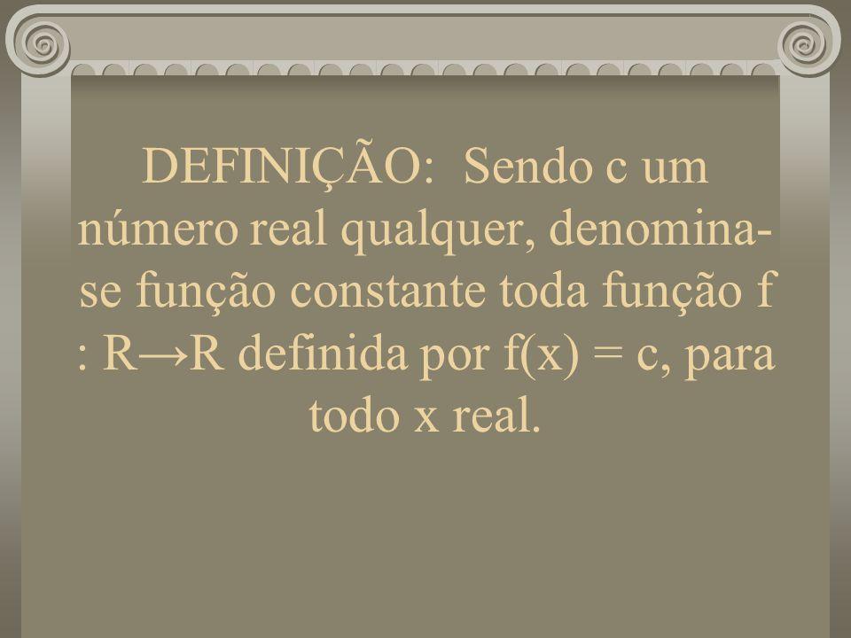 DEFINIÇÃO: Sendo c um número real qualquer, denomina-se função constante toda função f : R→R definida por f(x) = c, para todo x real.