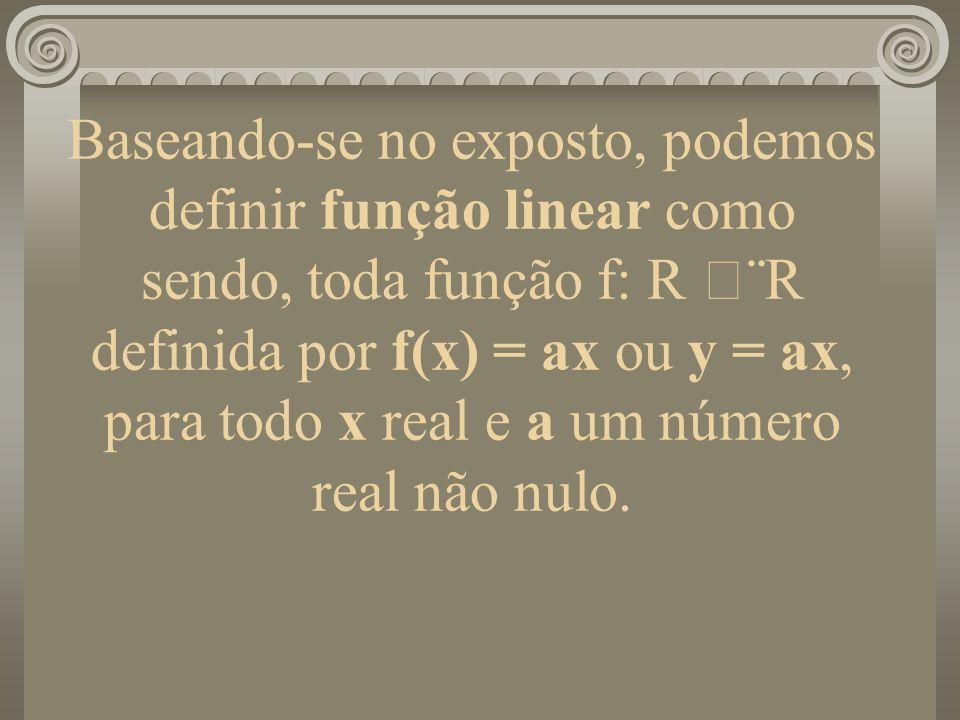 Baseando-se no exposto, podemos definir função linear como sendo, toda função f: R ¨R definida por f(x) = ax ou y = ax, para todo x real e a um número real não nulo.