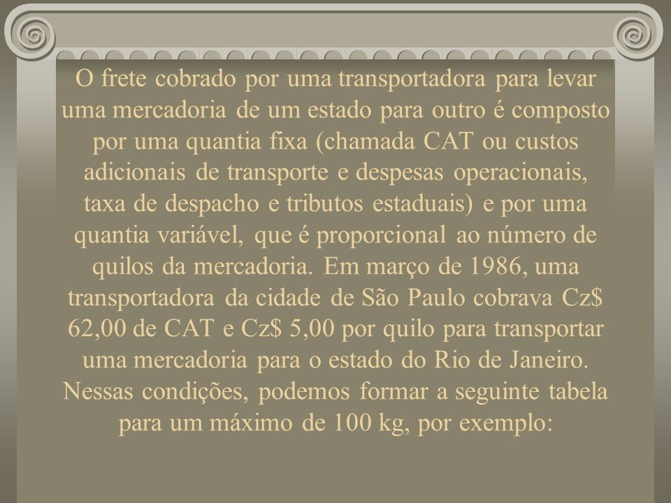 O frete cobrado por uma transportadora para levar uma mercadoria de um estado para outro é composto por uma quantia fixa (chamada CAT ou custos adicionais de transporte e despesas operacionais, taxa de despacho e tributos estaduais) e por uma quantia variável, que é proporcional ao número de quilos da mercadoria. Em março de 1986, uma transportadora da cidade de São Paulo cobrava Cz$ 62,00 de CAT e Cz$ 5,00 por quilo para transportar uma mercadoria para o estado do Rio de Janeiro. Nessas condições, podemos formar a seguinte tabela para um máximo de 100 kg, por exemplo: