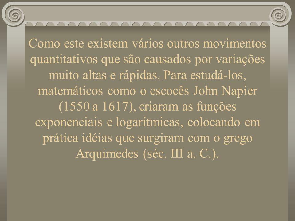 Como este existem vários outros movimentos quantitativos que são causados por variações muito altas e rápidas. Para estudá-los, matemáticos como o escocês John Napier (1550 a 1617), criaram as funções exponenciais e logarítmicas, colocando em prática idéias que surgiram com o grego Arquimedes (séc. III a. C.).