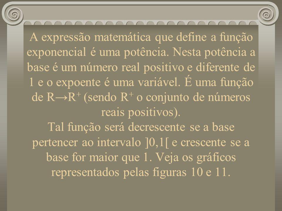 A expressão matemática que define a função exponencial é uma potência