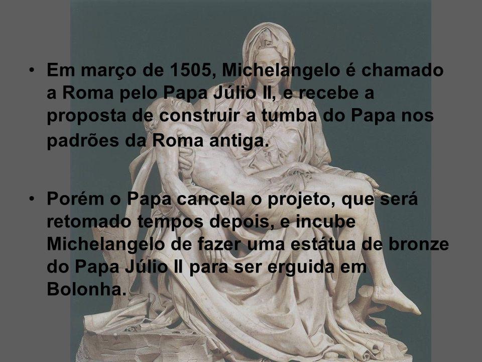 Em março de 1505, Michelangelo é chamado a Roma pelo Papa Júlio II, e recebe a proposta de construir a tumba do Papa nos padrões da Roma antiga.
