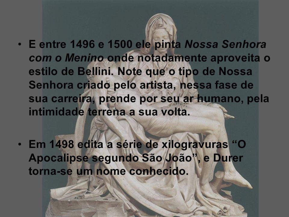 E entre 1496 e 1500 ele pinta Nossa Senhora com o Menino onde notadamente aproveita o estilo de Bellini. Note que o tipo de Nossa Senhora criado pelo artista, nessa fase de sua carreira, prende por seu ar humano, pela intimidade terrena a sua volta.