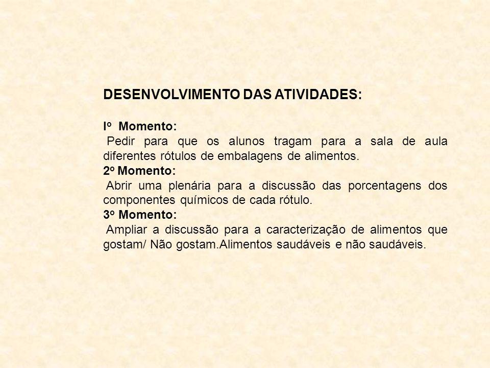 DESENVOLVIMENTO DAS ATIVIDADES: