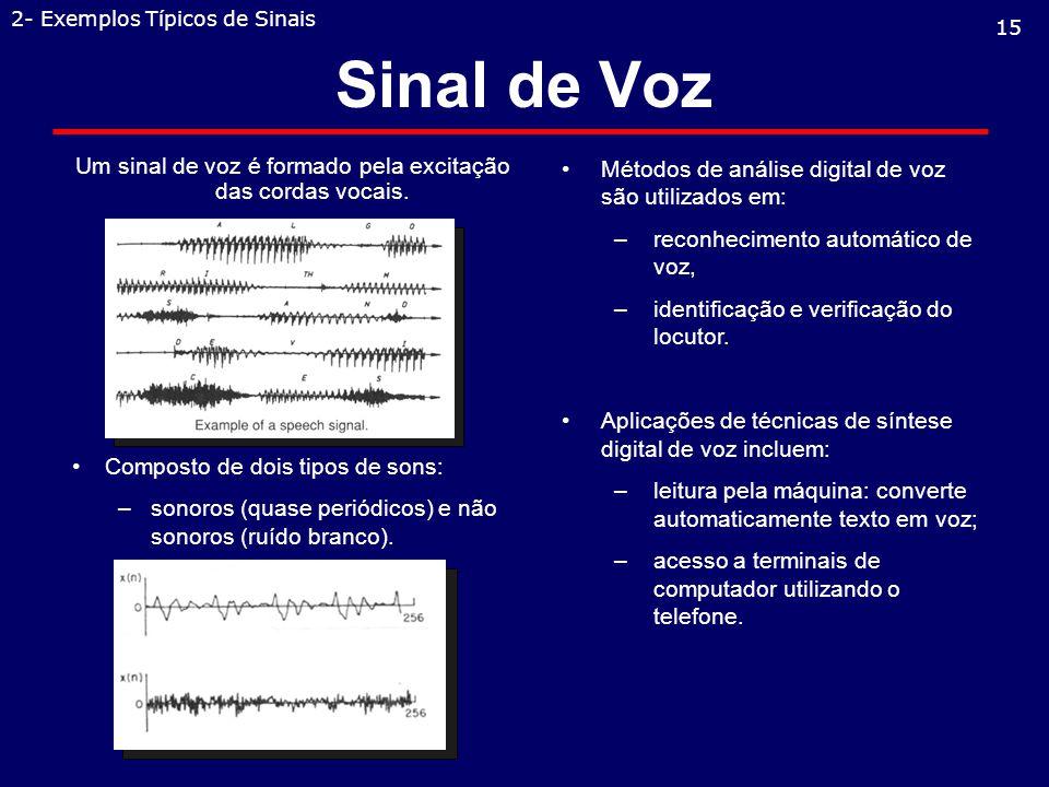 Um sinal de voz é formado pela excitação das cordas vocais.